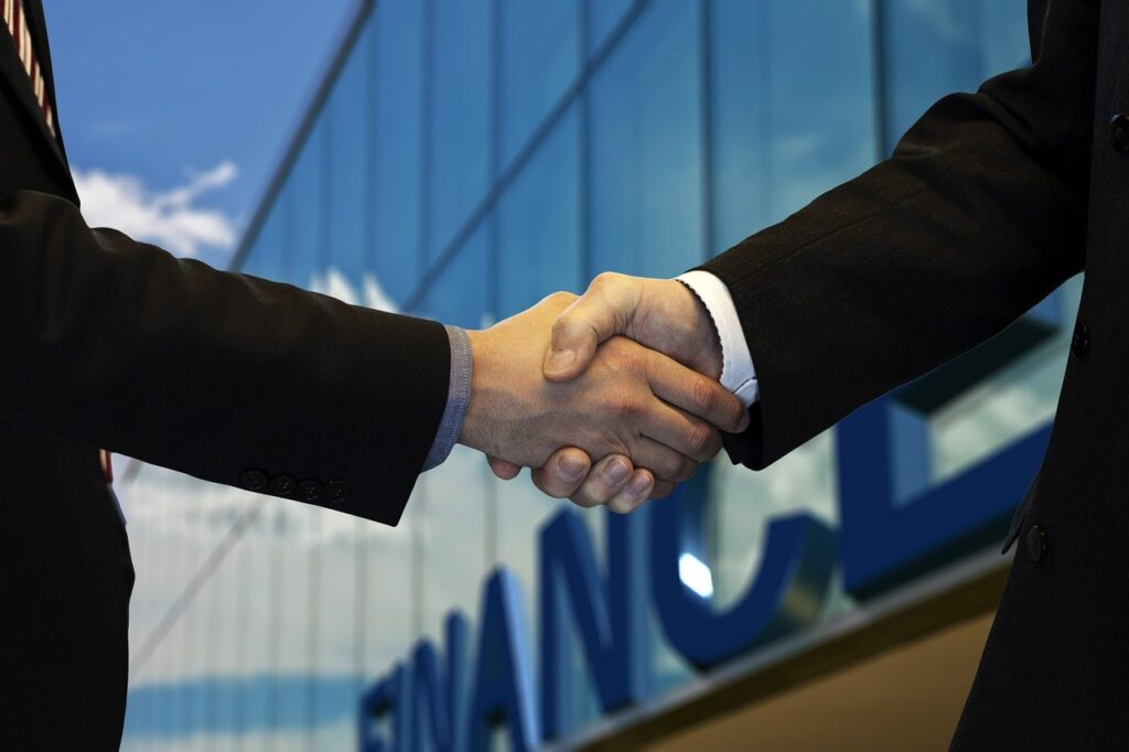 shaking hands, company, office